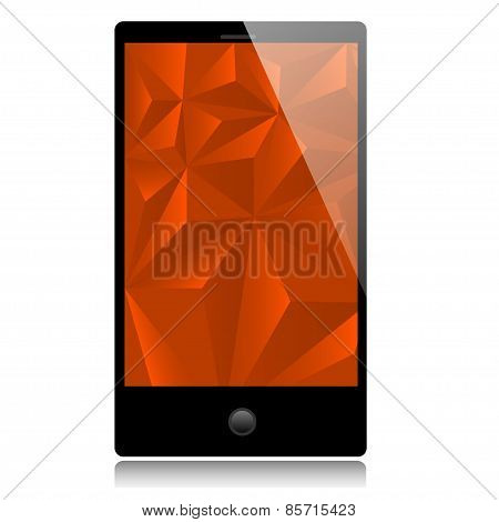 Smart phone with red background