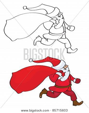 Vector Santa Claus Cartoon Isolated.