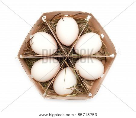 eggs in eco box. Isolated on white background. Top view.