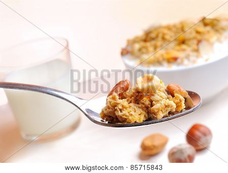 Spoon With Muesli And Nuts