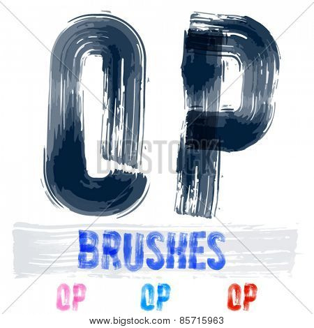 Vector set of extremely grunge underground style font. Hand-drawn brush alphabet. Letters  O P