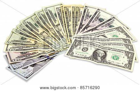 Many Dollars Banknotes
