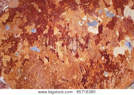 Old Rustic Red Painted Stone Texture/background
