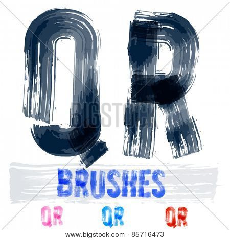 Vector set of extremely grunge underground style font. Hand-drawn brush alphabet. Letters  Q R
