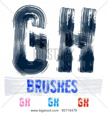 Vector set of extremely grunge underground style font. Hand-drawn brush alphabet. Letters G H