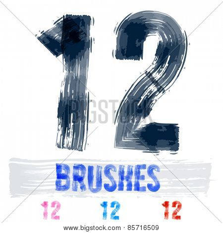 Vector set of extremely grunge underground style font. Hand-drawn brush alphabet. Numbers 1 2