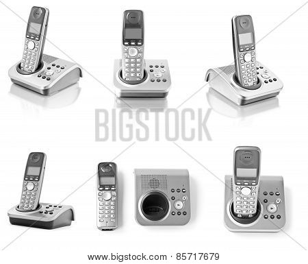 Collection Of Telephones Isolated On White