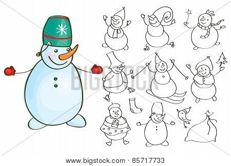 Vector snowman cartoons.