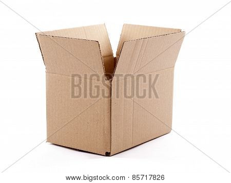 Small Empty Cardboard Box Isolated Over A White Background