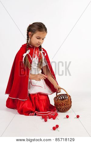 Little Girl In A Costume, Collect Cherries
