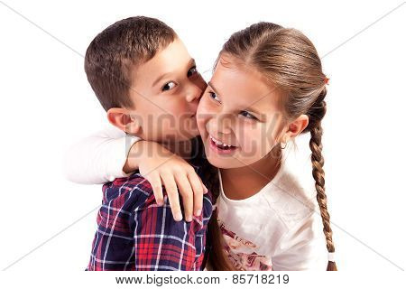 Boy And Girl In An Embrace