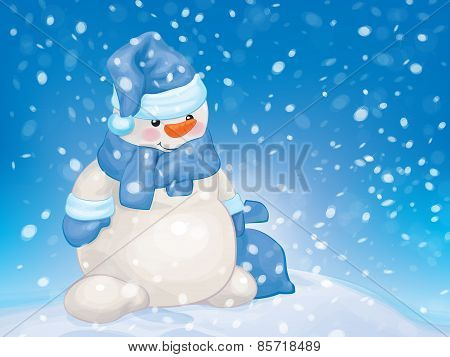 Vector  fun snowman cartoon.