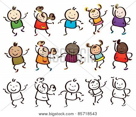 Vector dancing  kids cartoons.