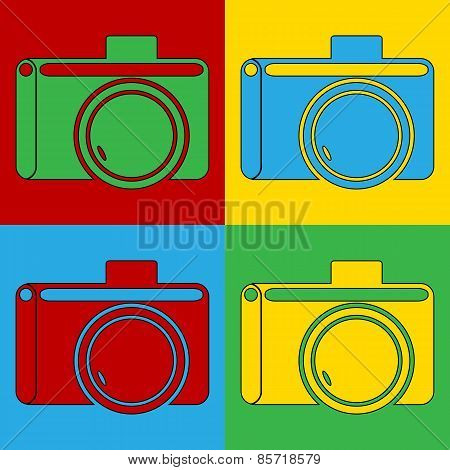 Pop Art Camera Symbol Icons.