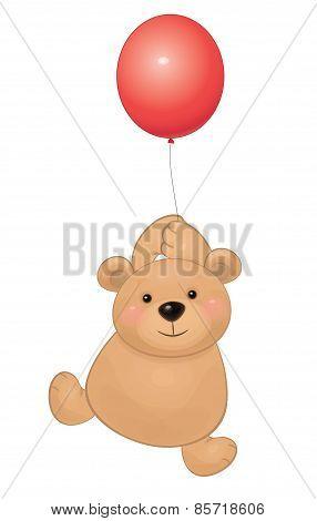 Vector baby bear with balloon.