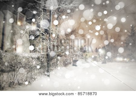 Winter night scene.
