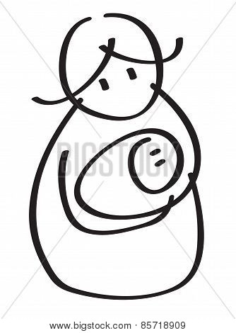 Vector  Mother With Baby Silhouette.