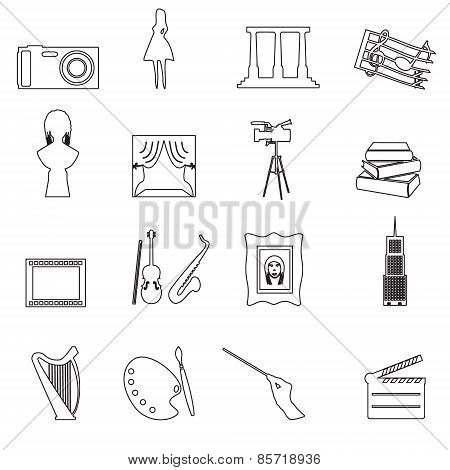 16 Outline types of Art Vector Icons Set Eps10