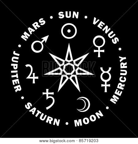 Septener. Star of The Magicians. Seven planets of Astrology.
