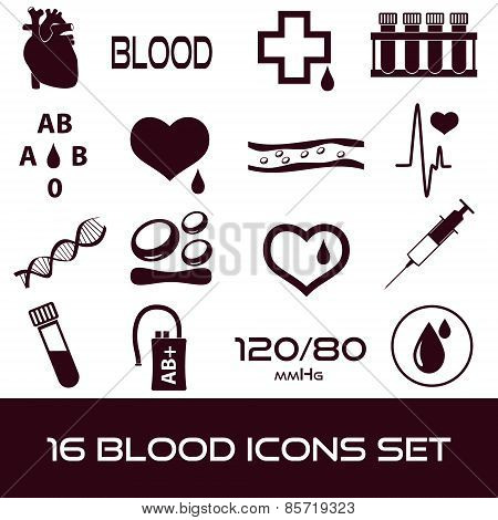 16 Simple Blood Vector Icons Set Eps10