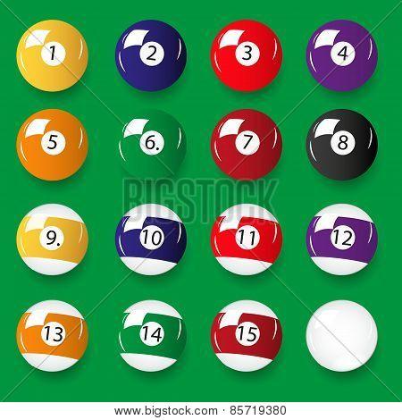 Set Of 16 Color Billiards Balls Eps10
