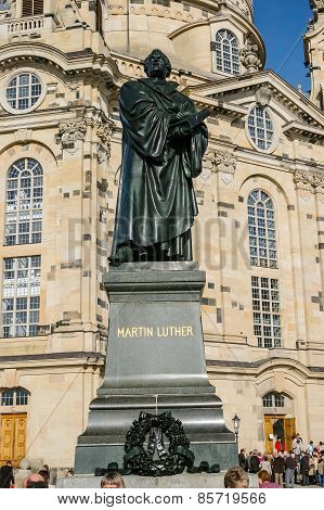 View On Martin Luther Statue In Dresden, Germany
