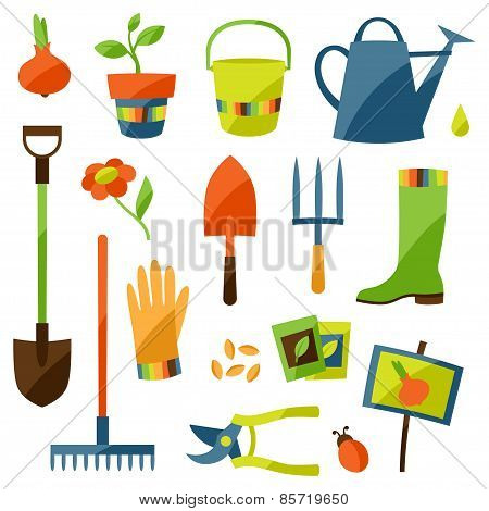 Set of garden design elements and icons