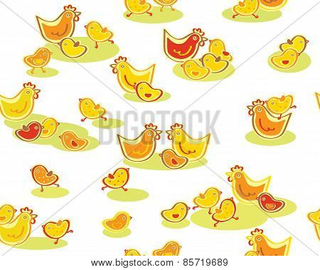 Vector cute seamless chickens pattern.