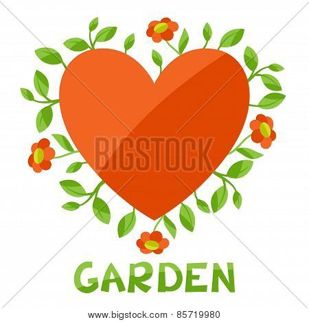 Background with heart and flowers love garden