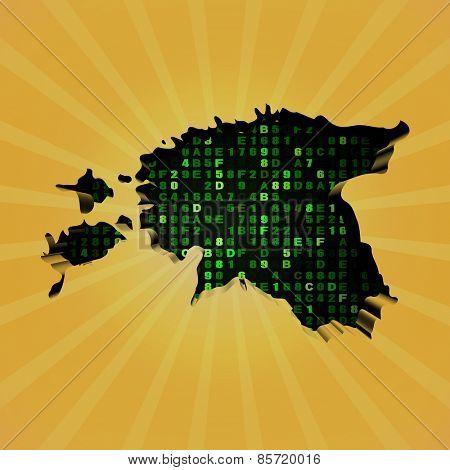 Estonia sunburst map with hex code illustration