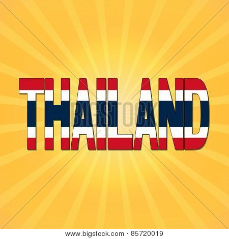 Thailand flag text with sunburst illustration