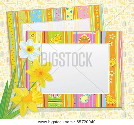 Vector Easter card empty photo frames with daffodils.