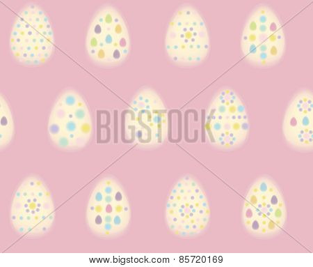 Vector seamless pattern of Easter eggs blurred soft effect.