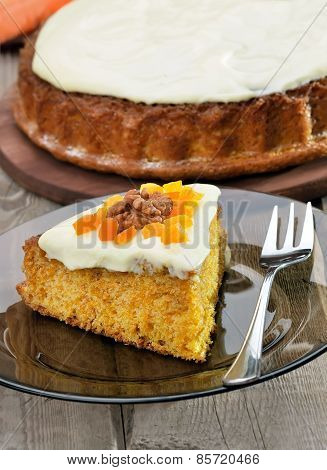 Piece Of Carrot Pie With Icing