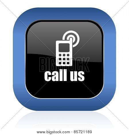 call us square glossy icon phone sign