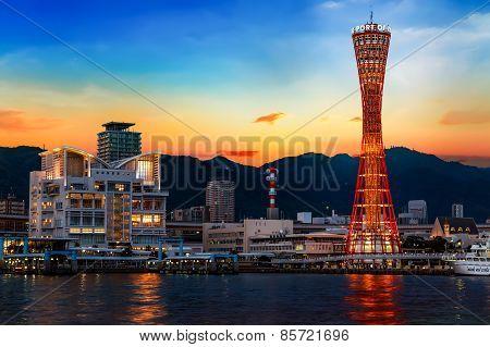 Port of Kobe with Kobe Port Tower