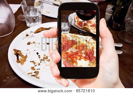 Tourist Photographs Italian Pizza With Parma Ham