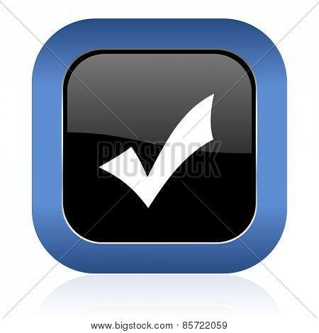 accept square glossy icon check sign