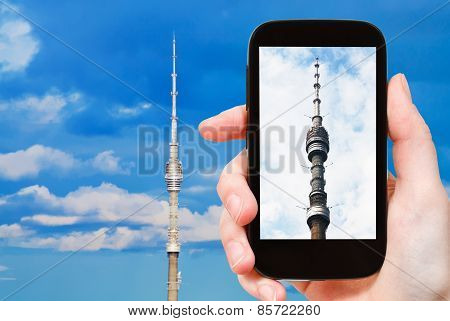 Tourist Photographs Of Tv Tower In Moscow