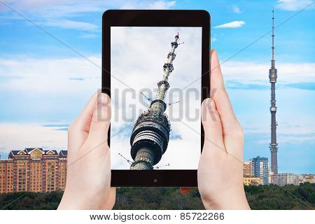 Tourist Photographs Of Television Tower In Moscow