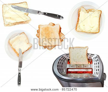 Bread And Butter Sandwiches And Toaster Isolated