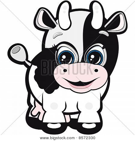 Vector Little cow - one of the symbols of the Chinese horoscope