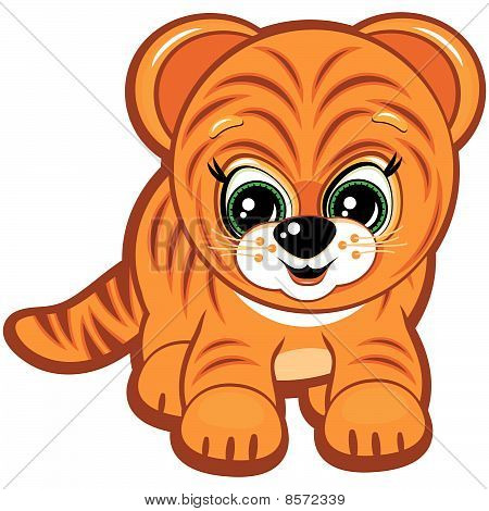 Vector Little tiger - one of the symbols of the Chinese horoscope.