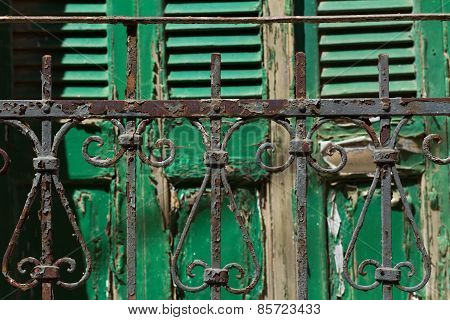 Greece, old rusty metal fence