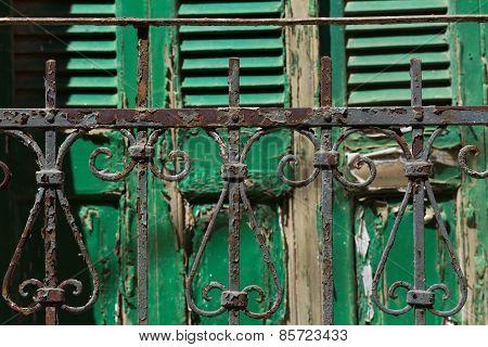 Greece, old rusty metal fence
