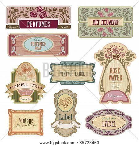 Ornate vintage labels in style Art Nouveau.