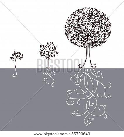 Vector concept of tree growing up.