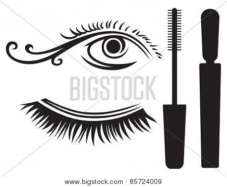 Ink for eyelashes and eye