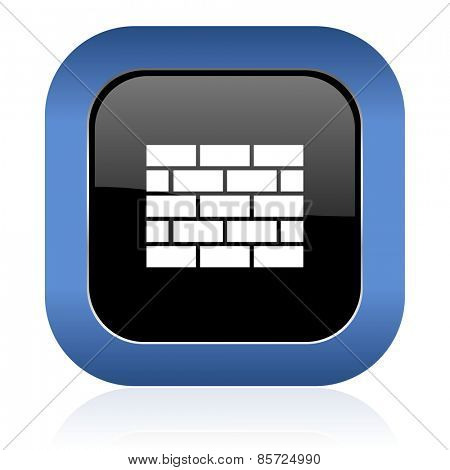 firewall square glossy icon brick wall sign