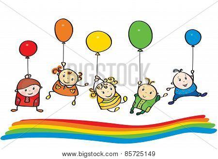 Vector Kids Rainbow Colors.